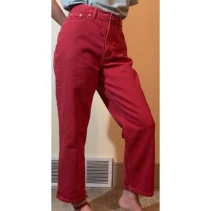 Land's End Red Straight Leg Mom Jeans, US 8